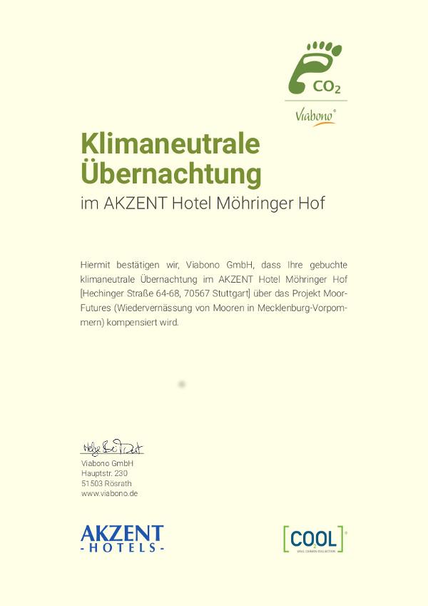 Viabono Zertifikat klimaneutraleUebernachtung Akzent Moehringer Hof