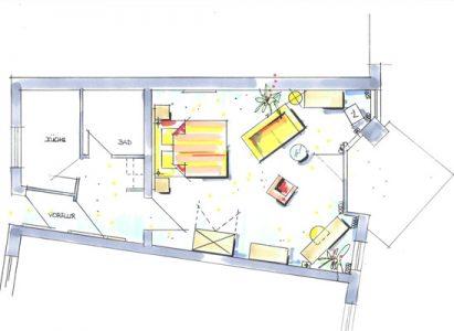 Apartment Grundriss Nr. 1